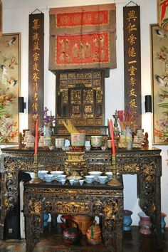 Peranakan Altar. The Intan - Celebrating all things Peranakan! (Straits Chinese)!  Address: 69 Joo Chiat Terrace