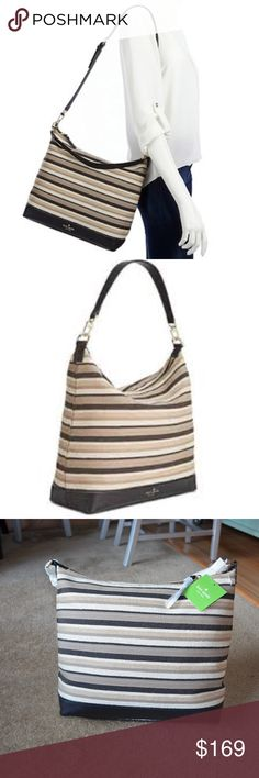 "KATE SPADE Greene Street Kaia Hobo Bag NWT! In Tan/Beige Embrace the elegance and luxury of the Kate Spade New York® Greene Street Kaia.  *Woven stripe acrylic/cotton/jute/polyester; trim: leather *Small sized bag; 11.7/10""W x 12.7/10""H x 4.1/2""D *8""L shoulder strap; 18""L-21.1/2""L adjustable strap *Zip closure *14k light gold-plated exterior hardware & logo *1 interior zip pocket & 2 slip pockets kate spade Bags Hobos"