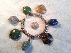 Vintage, Pre WWII? Venetian, Murano Glass Bead Charm Bracelet. by GothiqueGirl on Etsy