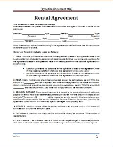 Rental Agreement Template At Worddox.org