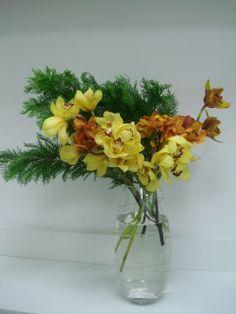 Vaso com Orquídeas Cynbidium e Túia.