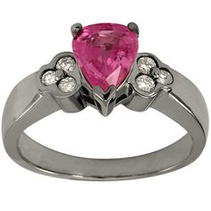 Pink Sapphire Pear Shape In Diamond Engagement Ring #Dacarli #SolitairewithAccents