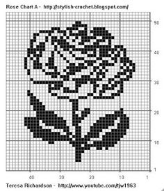 Free Filet Crochet Charts and Patterns: Filet Crochet Rose - Chart A