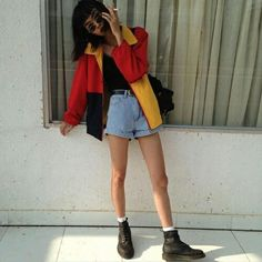 #jeans #jacket #blacket #red #orange #yellow #coat #fashion #summer #autumn #fall #spring #cute #boots #clothes #belt #jeanshorts #retro #grunge #hippy #boho