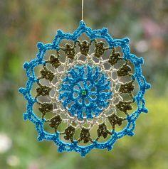 -Crochet dreamcatcher, lace mandala, window hanger, crochet doily in ...
