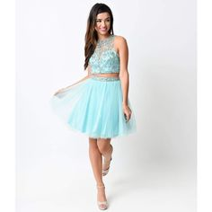 Mint & Silver Beaded Short Two Piece Tulle Dress ($200) ❤ liked on Polyvore featuring dresses, blue, white tulle dress, blue dress, two piece cocktail dresses, white dress and 2 piece short dresses