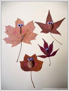 Divertidos muñecos con hojas secas de los arboles