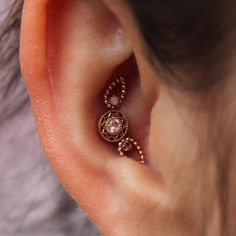 Triple conch piercing by Perry M. Doig of Rose Gold's Tattoo and Piercing. Jewelry by BVLA. Guys Ear Piercings, Types Of Ear Piercings, Unique Piercings, Conch Piercings, Ear Peircings, Conch Jewelry, Ear Jewelry, Body Jewelry, Fine Jewelry