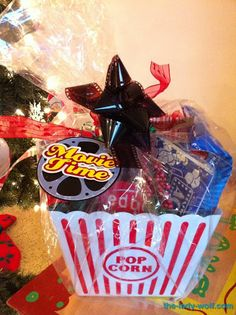 Movie gift basket. Excellent reward gift for a week of perfect chore cooperation!