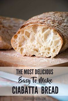 Italian Bread Recipes, Artisan Bread Recipes, Easy Bread Recipes, Cooking Recipes, Homemade Ciabatta Bread, No Knead Ciabatta Bread Recipe, Ma Baker, Bread Bun, Bread Rolls