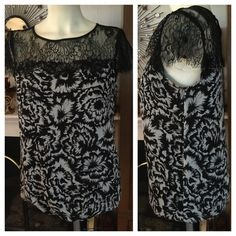 """NWOT ANN TAYLOR Black Lace & Flowery Print Top This very feminine NWOT ANN TAYLOR black-and-white flowery print top has an exquisite black lace yoke panel and barely there lace cap flutter sleeves. The bodice section is fully lined with a not-too-tight elasticized bottom. The back has a keyhole button opening. Size XS. Measured flat:  19"""" under arms across bust and down; 16-1/2"""" across bottom; 22"""" from top of shoulder to bottom hem. Smoke-free home. Ann Taylor Tops"""