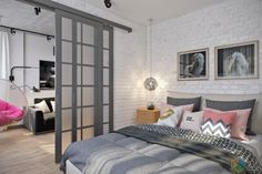 В этом проекте реализовано очень интересное жизнеутверждающее цветовое решение в оформлении гостиной.