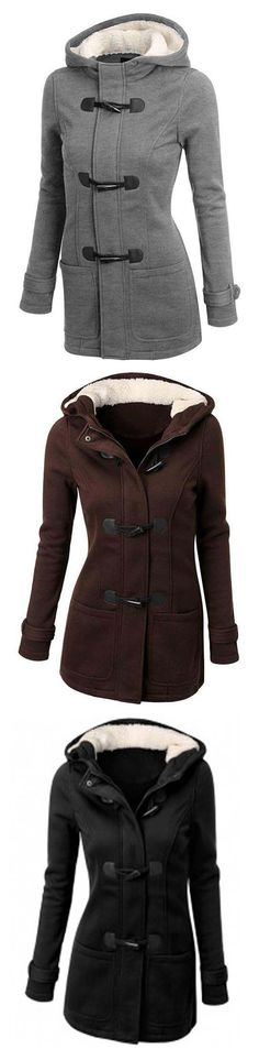 If you are a creative person who loves a more free and versatile style,just need this Fashion Horn Button Fleece Coat.