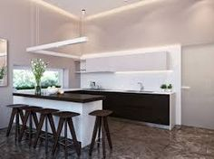Modern Kitchen And Dining Room Design apartment, twin waterfall hanging lamps open plan living space