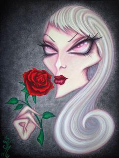 8 x 10 imprimer Fantasy Albino Lowbrow femme visage fleur Rose ventru surréalisme Pop Art Reproduction par Natalie VonRaven