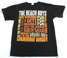 Mens Size M The Beach Boys T Shirt, Names Greatest Hits Songs, Black, Preshrunk. $14.99