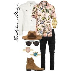 A menswear look from November 2017 featuring mens casual short sleeve shirts, mens torn jeans and mens collared jacket. Browse and shop related looks.