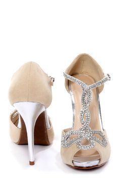 Bridesmaid shoes- Tiara 1 Camel and Silver Rhinestone T-Strap High Heels at LuLus.com!