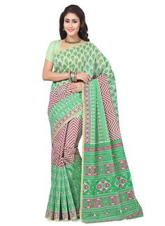 Buy indian saree online. We offer huge collection of designer saree. Buy this cotton   multi colour print work casual saree.