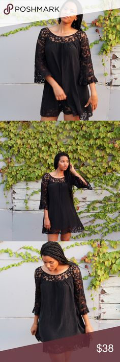 Silk and Lace Dress This dress is beautiful! It is 100% silk with lace trimming and bell sleeves. Perfect for summer and transitions from day-to-night. The tag is missing, so I'm not sure of the brand but I believe it is Free People. Fits like a S/M. Free People Dresses Mini