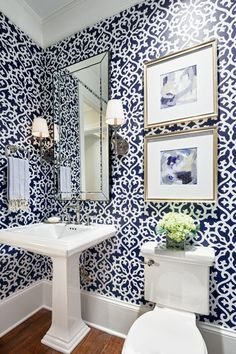 Unique Powder Rooms to Inspire Your Next Remodeling, Home Decor, Patterned powder room design. Powder Room Decor, Room Design, Bathroom Interior Design, Bathroom Wallpaper, European Home Decor, Cheap Home Decor, Modern Interior Design, Powder Room Wallpaper, Blue Powder Rooms
