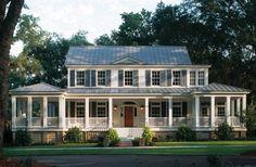 white house, blue shutters