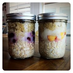 Refrigerator Oatmeal: infused with quinoa and chia seeds. This is great not only for breakfast, but also a great pre/post workout meal.