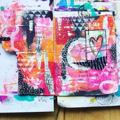 """Imagine a world full of love"" -Let's start today! #mixedmedia #artjournaling #artjournal #stamping #collage #imagine #tag #sewing"