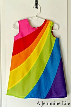 Arden's Rainbow Birthday Dress – A Jennuine Life How to make a pieced rainbow dress. Tutorial shows a little girl's dress but the process is the same for an adult. Sewing Kids Clothes, Sewing For Kids, Baby Sewing, Free Sewing, Ladies Clothes, Frock Design, Little Dresses, Little Girl Dresses, Baby Dresses