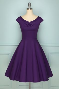 Zapaka Retro Style Purple A-line Rockabilly Swing Formal Party Dress Burgundy Satin Dress, Burgundy Bridesmaid Dresses Long, Purple Dress Casual, Purple Party Dress, High Low Lace Dress, Long Sequin Dress, Pin Up Dresses, Dresses With Sleeves, Cap Sleeves