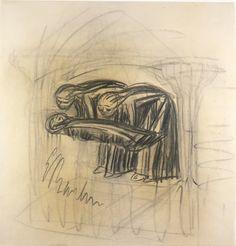 El entierro. Carboncillo. 1927. 47,7 x 46,2 cm. Artista: Ernst Barlach.