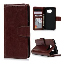 For Samsung Galaxy S7 G930 G9300 Cases Crazy Horse PU Leather Retro Full Protective Wallet Stand Flip Case Cover Card Holder