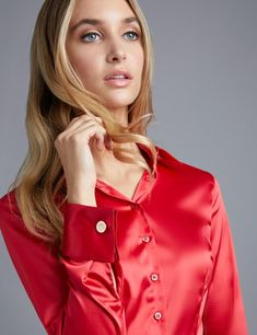 90112a45bfc581 Women's Red Fitted Satin Shirt - Double Cuff Black Satin Shirt, Red Shirt,  Orange. Hawes & Curtis