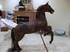Old Hand Carved Wooden Carousel Horse OH I love this one!!!!