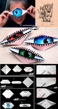 5 senses: Fun idea to make an eye. This is an origami paper folding activity. Ea… 5 senses: Fun idea to make an eye. This is an origami paper folding activity. Art For Kids, Crafts For Kids, Arts And Crafts, Jar Crafts, Origami Eye, Origami Dragon, Origami Folding, Origami Hand, Fun Origami