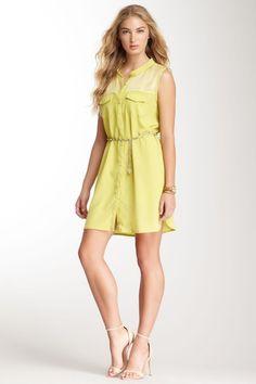lace yoke shirt dress