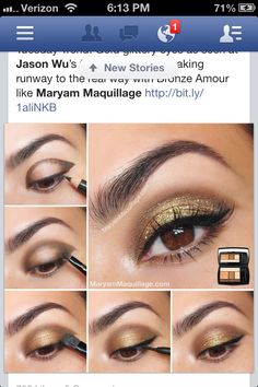 Gold & brown eyes. Lancôme's Bronze Amour. Looks very similar to Golden Frenzy v