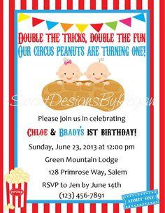 Twins Birthday Invitation - Circus Themed (Digital File)