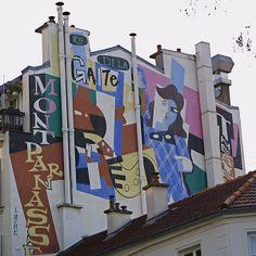 Mural along the rue de la Gaîté, Montparnasse.  When in Paris, always look up!