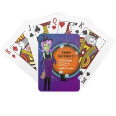 Shop Double Double Toil & Trouble Halloween Witch Playing Cards created by AsilDesigns. Halloween Trick Or Treat, Halloween Kids, Halloween Treats, Halloween Party, Birthday Activities, Birthday Ideas, Babysitting Activities, Toil And Trouble, Witch Cat
