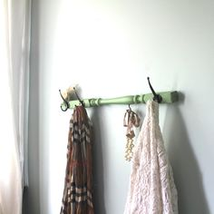 Mint Green Spindle hanging rack. Clever.