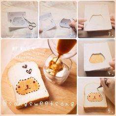 Song Sweet Song: How to Make ‪ Toast Cute Snacks, Cute Desserts, Cute Food, Yummy Food, Food Crafts, Diy Food, Japanese Deserts, Kawaii Dessert, Macaron Cookies