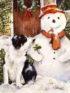 Border collie pup and snowman-watercolour-xmas card design