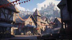 Legend of King Arthur Challenge: Game Environment Winners Interview - ArtStation Magazine Fantasy Village, Fantasy Town, Medieval Fantasy, Fantasy World, Medieval Town, Fantasy Art Landscapes, Fantasy Landscape, Landscape Art, Game Environment