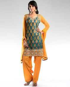 Teal Green Salwar Suit with Stone