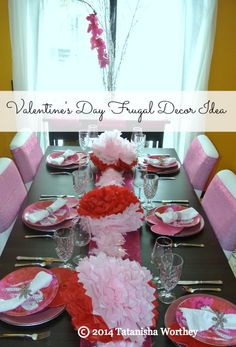 Frugal Valentine's Day Decor Idea - Create a lovely tablescape without blowing your budget with these ideas.
