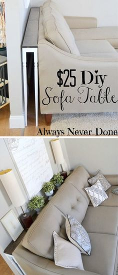 DIY Hacks for Renters - Skinny Sofa Table - Easy Ways to Decorate and Fix Things. - Home Decor. DIY Hacks for Renters - Skinny Sofa Table - Easy Ways to Decorate and Fix Things Home Living Room, Home Projects, Narrow Sofa Table, Home Decor, Apartment Decor, Small Space Living, Diy Sofa, Home And Living, Diy Sofa Table