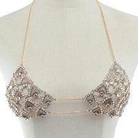 Sea Shell Rhinestone Crystal Bikini Top Body Jewelry