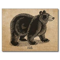 Burlap Vintage hello Bear Postcard Post Cards