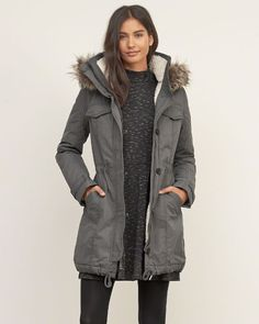Size S - Womens A&F Sherpa Lined Military Parka